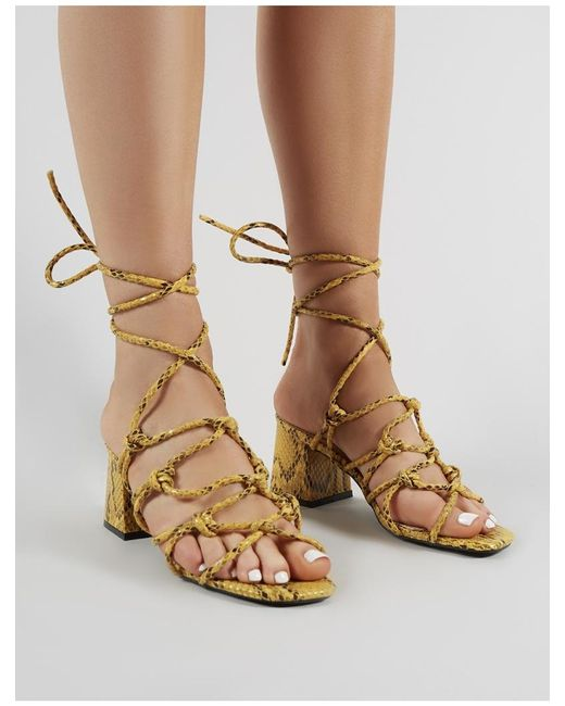 a81f73e7a2b ... Public Desire - Multicolor Freya Knotted Strappy Block Heeled Sandals  In Mustard Snakeskin - Lyst ...