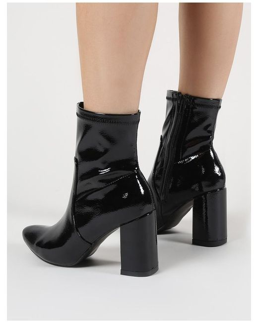 8d6d18a5d72 Public Desire Raya Pointed Toe Ankle Boots In Black Patent in Black ...