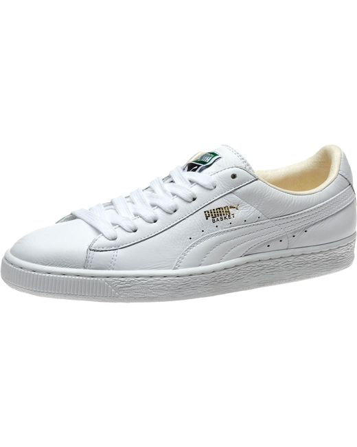 puma basket classic men 39 s sneakers in white for men white white lyst. Black Bedroom Furniture Sets. Home Design Ideas