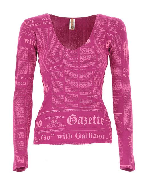 John Galliano - Purple T-shirt For Women - Lyst