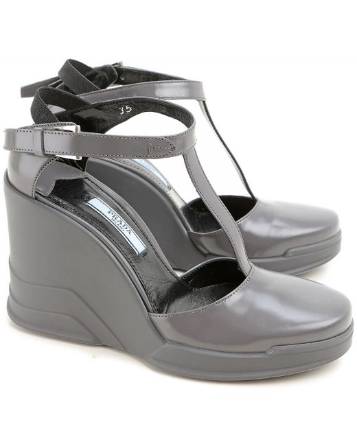 Prada - Gray Wedges For Women On Sale In Outlet - Lyst