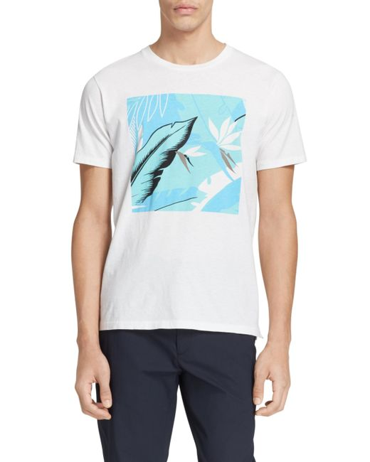 Rag bone hawaiian graphic tee in white for men lyst for Hawaiian graphic t shirts