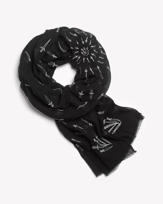 Rag & Bone - Black Embroidered Dagger Scarf - Lyst