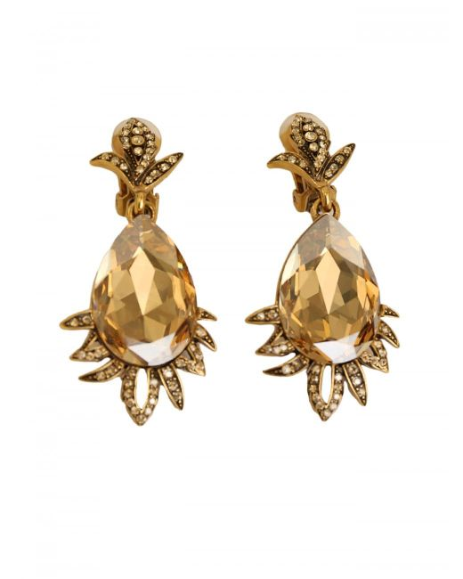 Oscar de la Renta | Yellow Teardrop Earrings | Lyst
