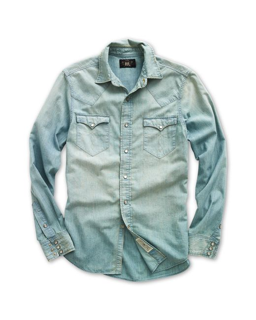 7aeba929 RRL Buffalo Chambray Western Shirt in Blue for Men - Save 10% - Lyst