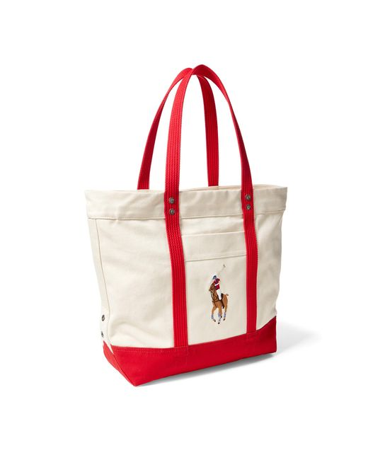 b5a2c03c7d Polo ralph lauren canvas big pony tote in red lyst jpg 520x650 Polo ralph  lauren red