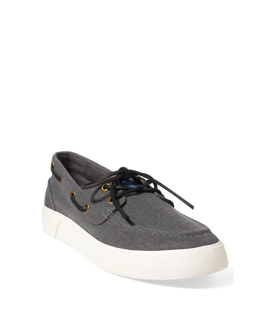 Polo Ralph Lauren | Black Rylander Washed Twill Sneaker for Men | Lyst
