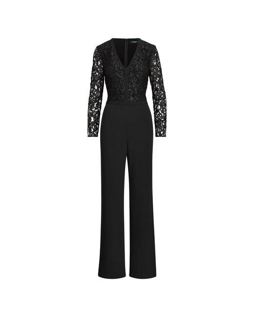 Ralph Lauren - Black Lace-trim Crepe Jumpsuit - Lyst