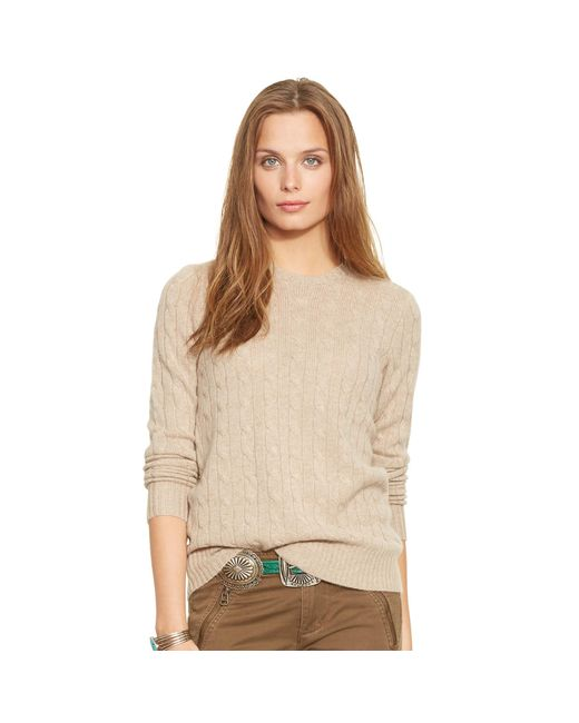 Polo Ralph Lauren   Natural Slim Cable Cashmere Sweater   Lyst
