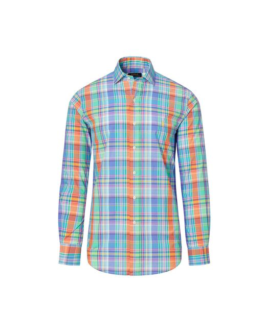 Polo Ralph Lauren | Blue Plaid Cotton Poplin Shirt for Men | Lyst