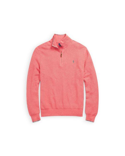 Polo Ralph Lauren - Pink Cotton Mesh Half-zip Sweater for Men - Lyst ...