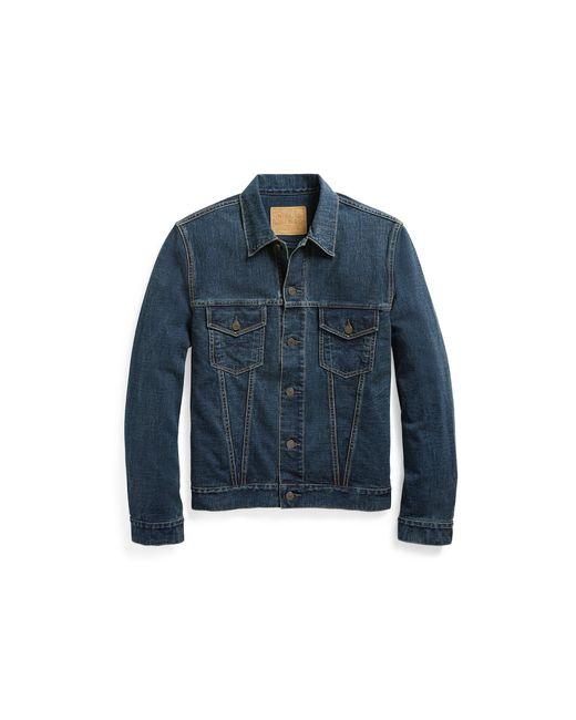 RRL   Blue Cotton Jersey Jacket for Men   Lyst