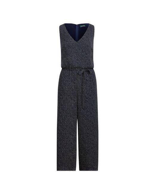 Ralph Lauren - Blue Crepe Wide-leg Jumpsuit - Lyst