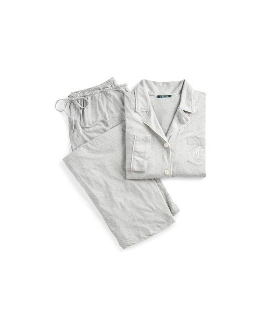 Ralph Lauren - Gray Cotton Jersey Pajama Set - Lyst