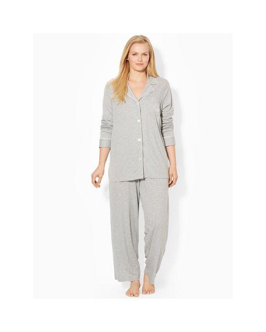 Pink Pony | Gray Cotton Jersey Pajama Set | Lyst