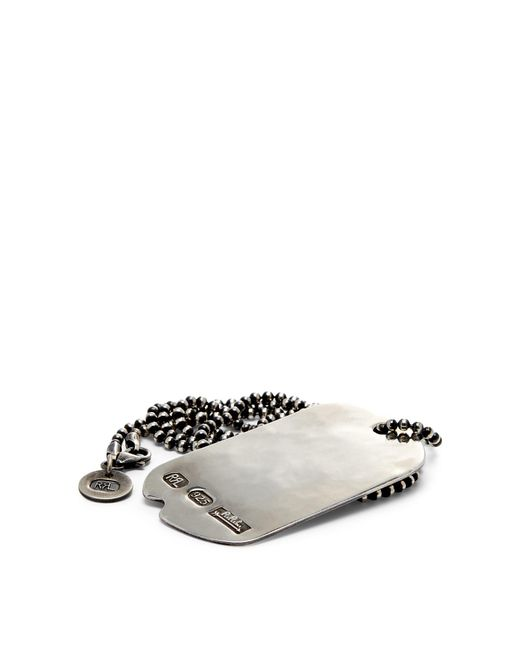 RRL - Metallic Silver Dog-tag Necklace for Men - Lyst
