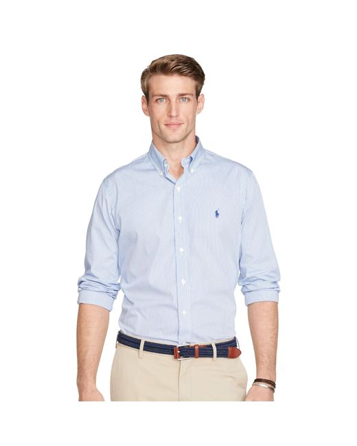 Polo Ralph Lauren | Blue Striped Cotton Poplin Shirt for Men | Lyst