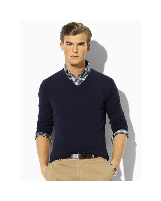 Polo Ralph Lauren | Blue Cashmere V-neck Sweater for Men | Lyst