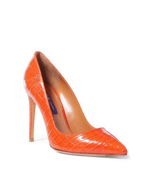 Ralph Lauren | Orange Alligator Celia Pump | Lyst