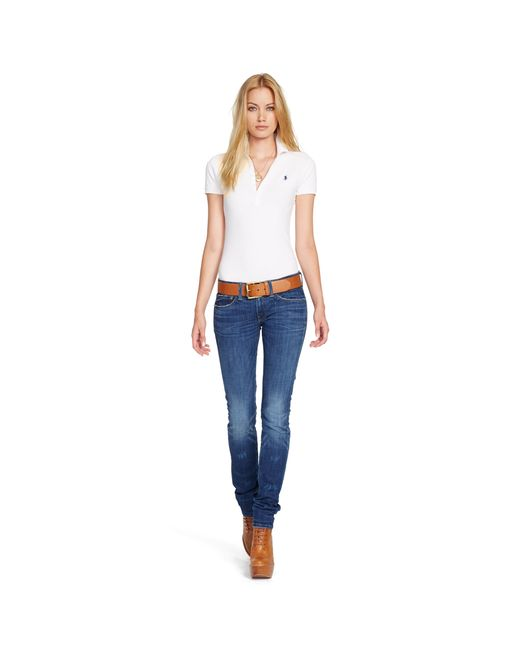 Polo Ralph Lauren | White Skinny Fit Stretch Mesh Polo | Lyst