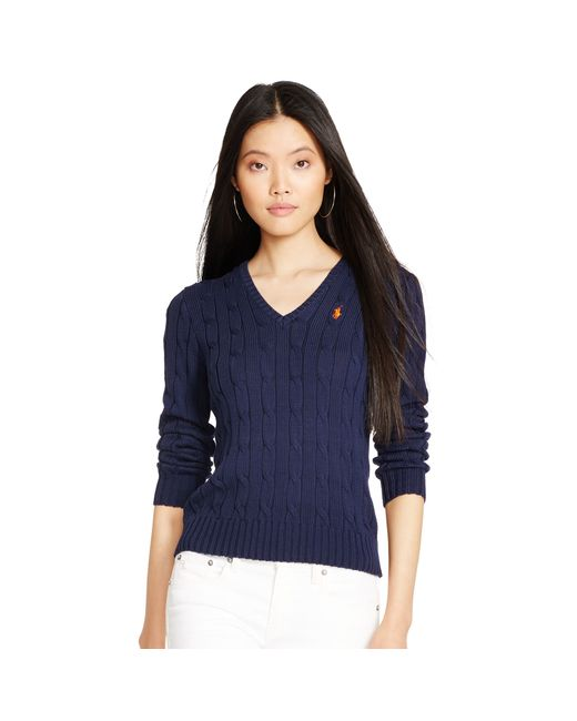 Ralph Lauren | Blue Cable V-neck Sweater | Lyst