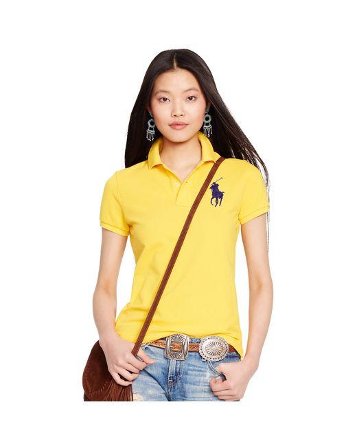 Polo Ralph Lauren | Yellow Skinny-fit Big Pony Polo Shirt | Lyst