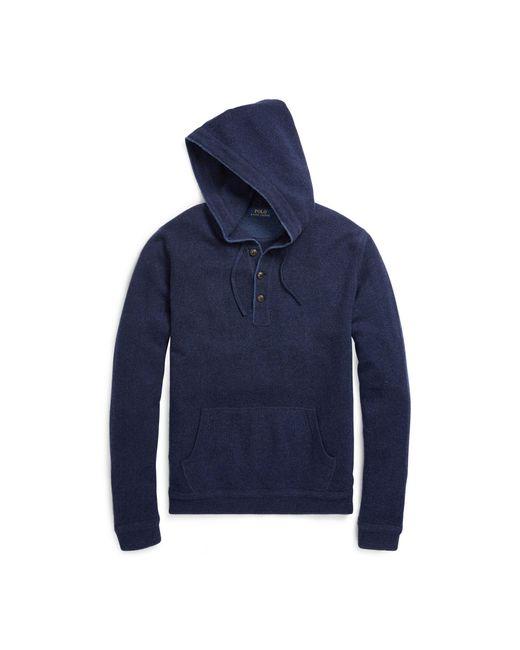 Polo Ralph Lauren | Blue Merino Wool Henley Hoodie for Men | Lyst