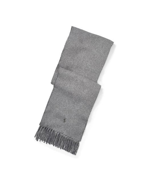 Polo Ralph Lauren   Gray Reversible Wool-blend Scarf for Men   Lyst
