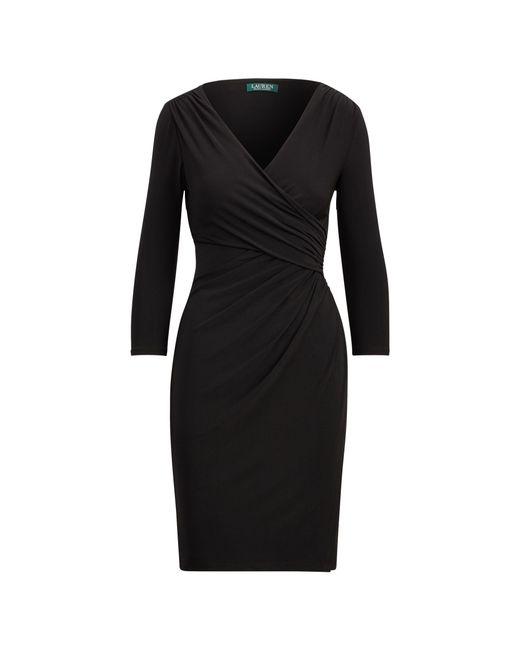 Ralph Lauren - Black Faux-wrap Jersey Dress - Lyst