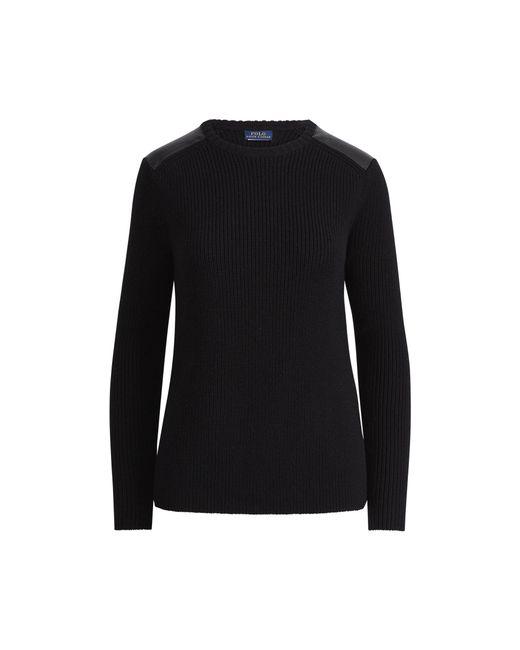 Polo Ralph Lauren   Black Leather-trim Crewneck Sweater   Lyst