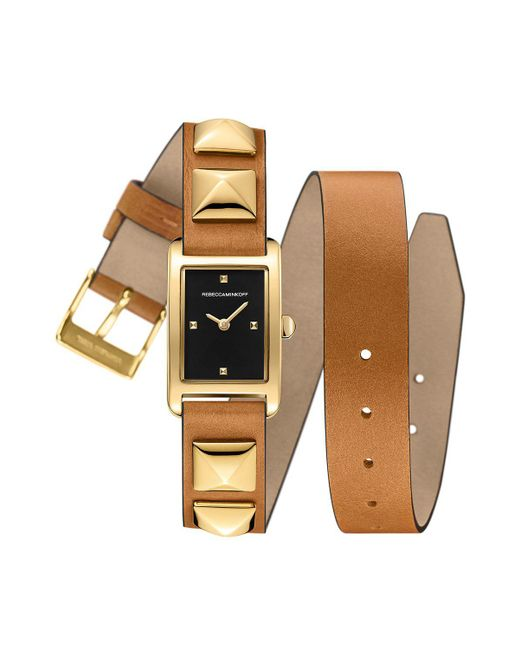 Rebecca Minkoff - Metallic Moment Gold Tone Studded Leather Wrap Watch, 19mm X 30mm - Lyst