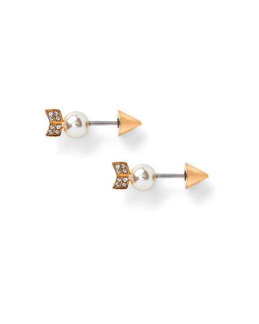 Rebecca Minkoff | Metallic Pearled Arrow Earring | Lyst