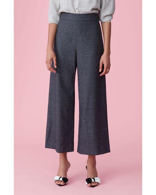 Rebecca Taylor - Gray Speckled Herringbone Wide Leg Crop Pant - Lyst