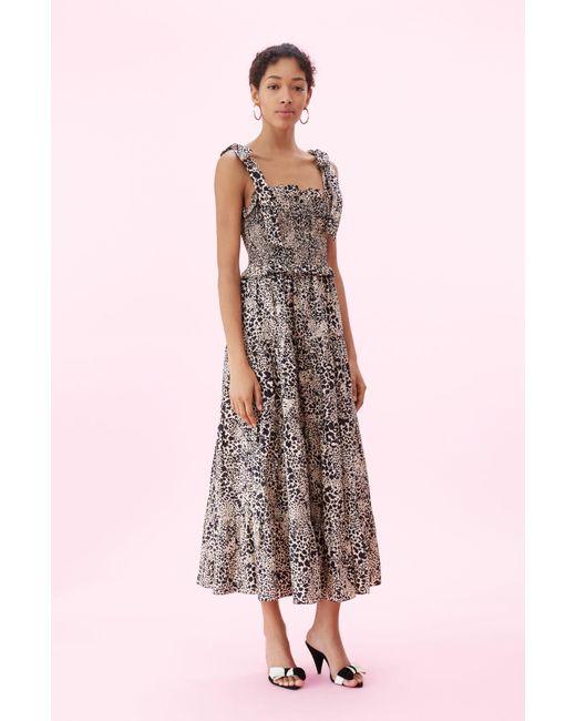 9ba97f396aa64 Rebecca Taylor - Multicolor Hidden Leopard Poplin Smocked Dress Champagne
