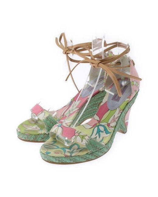 Emilio Pucci Woman Lace-up Satin And Leather Sandals Multicolor Size 37 Emilio Pucci n41JUt
