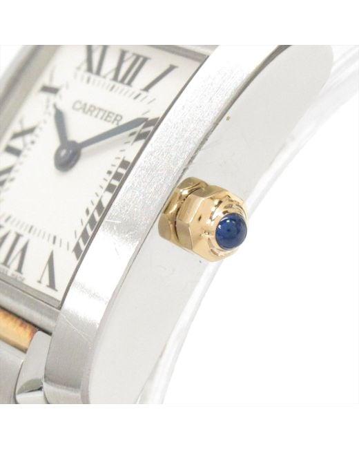 1b881d9d3f1d0 ... Cartier - White Auth Tank Francaise Sm Watch W51007q4 Quartz Stainless  Steel Xk18yg Used - Lyst ...