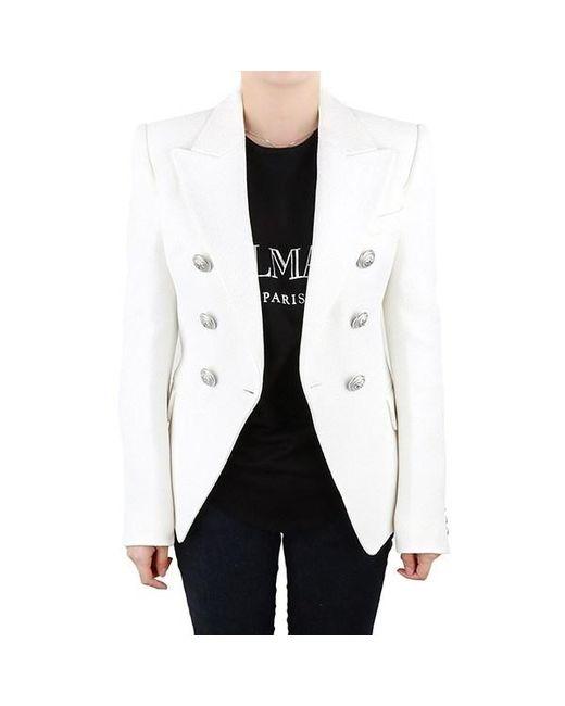 bce97566 Balmain - White Women's Jacket - Lyst ...