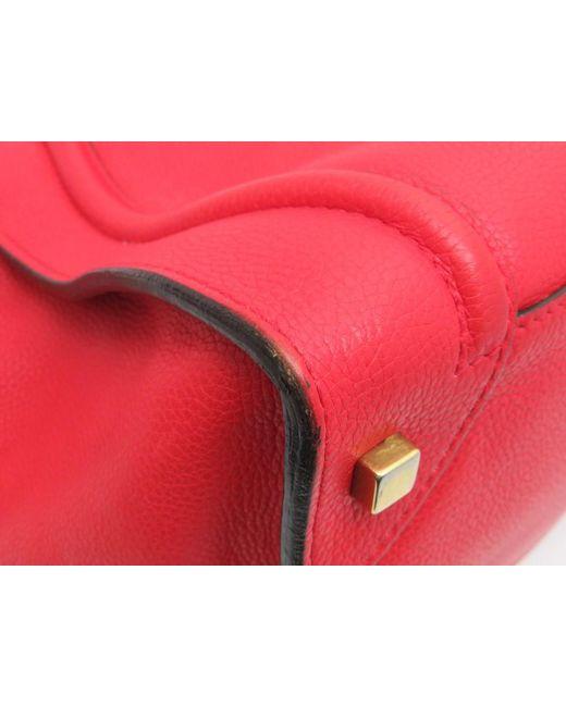 ... Céline - Mini Luggage Tote Bag Handbag Calfskin Leather Red 1604 - Lyst  ... 179360bd600e8
