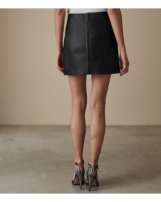 329eb0070333 ... Reiss - Black Fenella - Turn Lock Leather Mini Skirt - Lyst ...