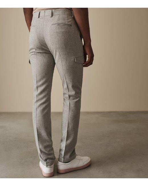 0eddf673d6e18b ... Reiss - Gray Regiment - Military Detail Flannel Trousers for Men - Lyst  ...