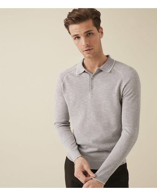 ad982646b ... Reiss - Gray Earlsfield - Long Sleeved Tipped Polo for Men - Lyst ...
