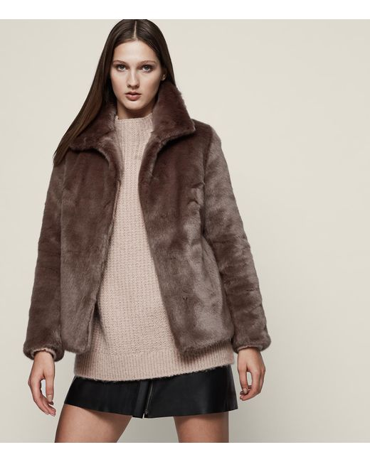 Reiss - Brown Orsa Faux Fur Coat - Lyst