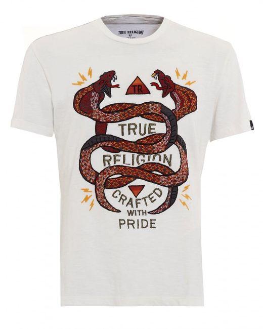 true religion white snake embroidered t shirt in white for. Black Bedroom Furniture Sets. Home Design Ideas