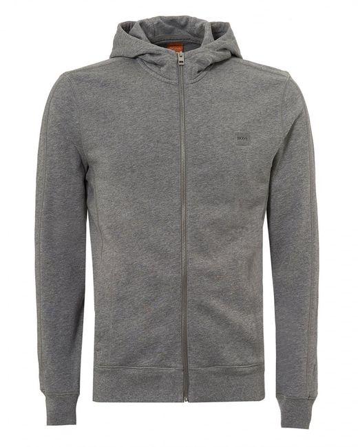 BOSS Orange | Gray Ztadium Hoodie, Panel Sides Grey Melange Sweatshirt for Men | Lyst