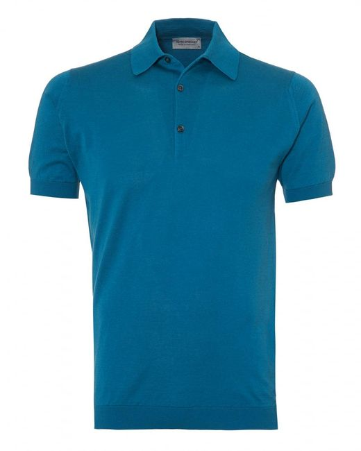 John Smedley - Adrian Polo Shirt, Sea Island Cotton Bias Blue Polo for Men - Lyst