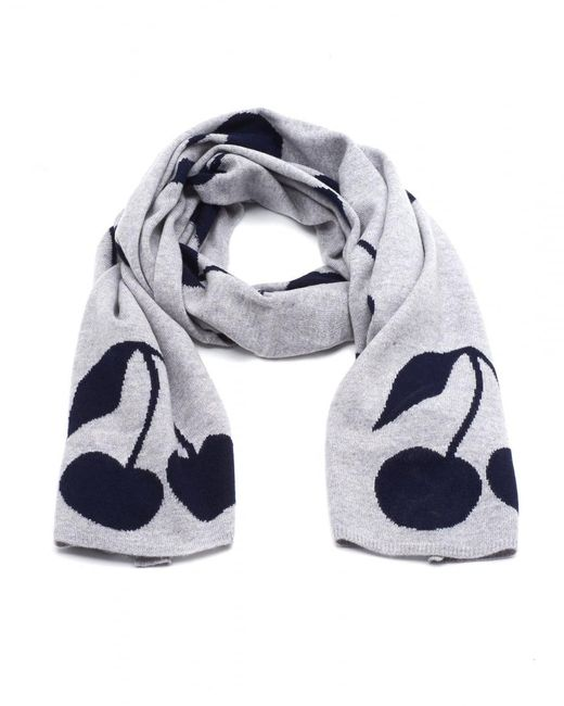 Cocoa Cashmere | Gray All Over Cherry Print Grey Scarf | Lyst