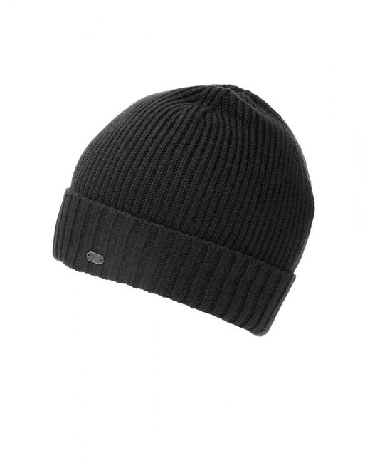 BOSS - C-fati2 Beanie, Ribbed Wool Black Hat for Men - Lyst