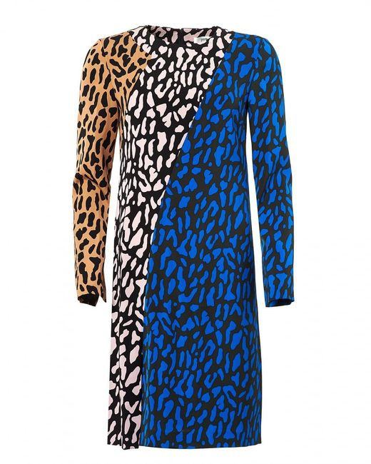 Diane von Furstenberg - Blue Bias Animal Print Multi Fitted Dress - Lyst