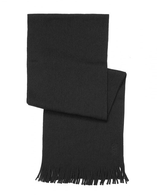 BOSS - C-albas Ribbed Black Scarf for Men - Lyst