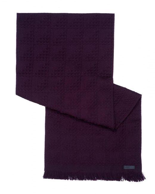 Armani | Purple Waffle Knit Wool Burgundy Scarf for Men | Lyst